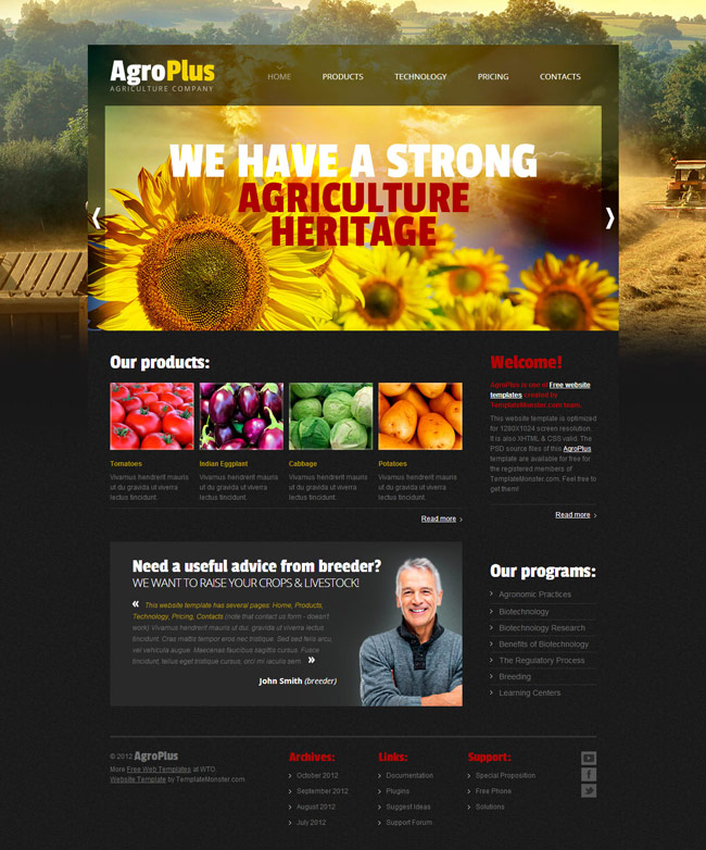 Agro Plus Free PSD Template
