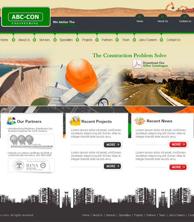 Construction PSD Free Web Template
