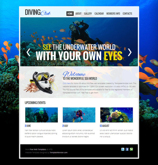 Diving Club Free PSD