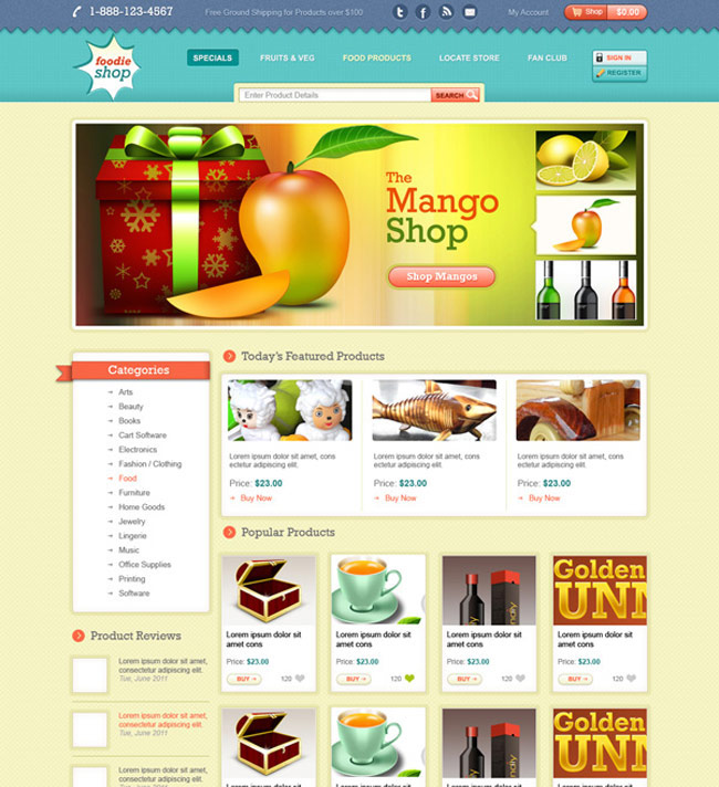 Ecommerce website PSD template