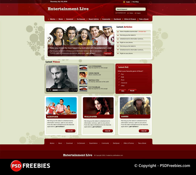 Entertainment Live Template PSD