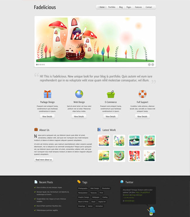 Fadelicious Free PSD Web Template