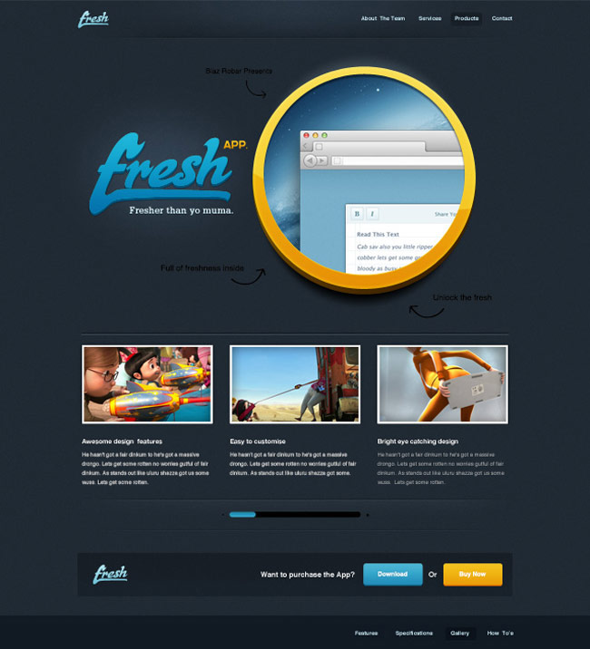 Fresh App - Free Website PSD