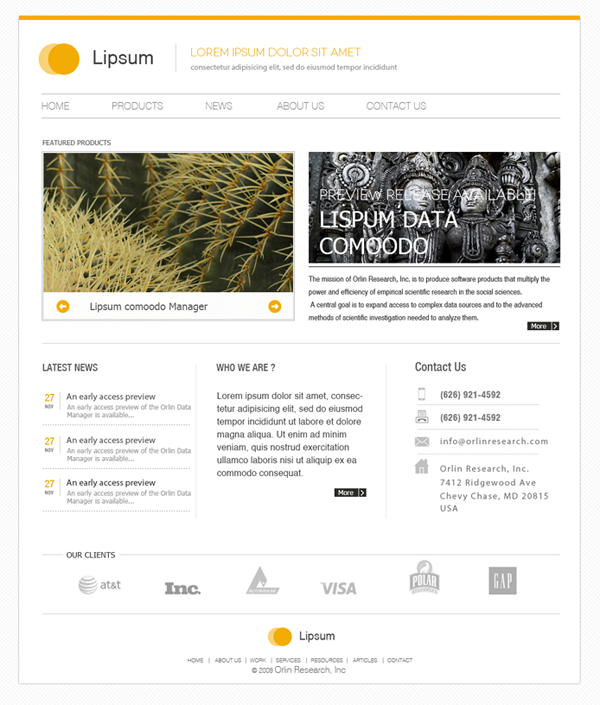 Minimal Website PSD Template