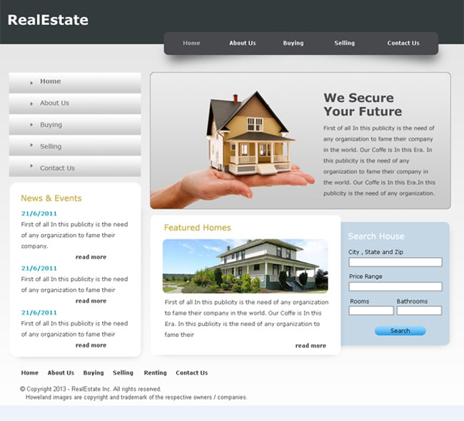 RealEstate Free PSD Website Template