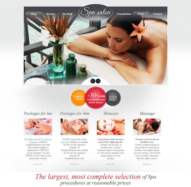 Spa Saloon Free PSD Template