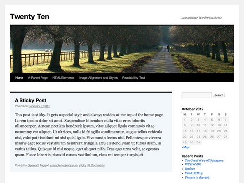 Twenty-Ten-WordPress-Theme