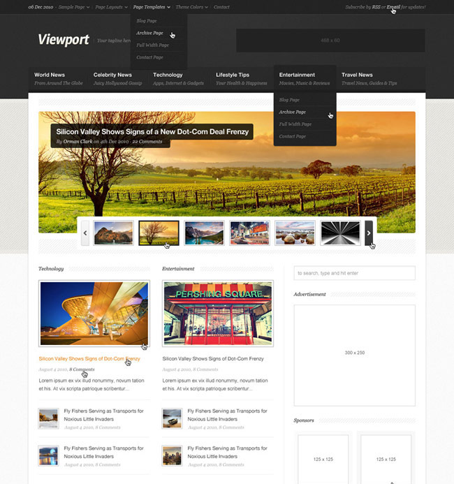 ViewPort Magazine Site Template (PSD)
