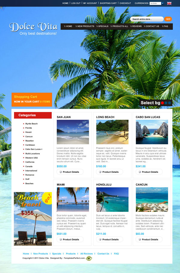 beach tour travel planner PSD web template