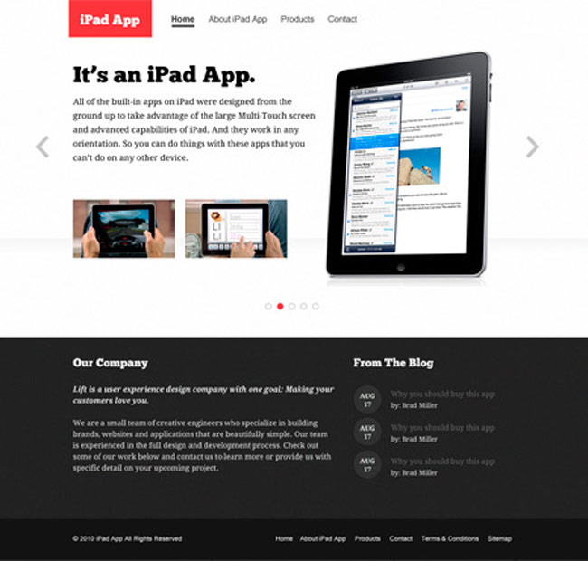 iPad App Free PSD Web Template