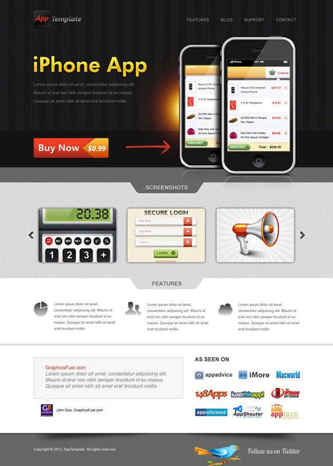 Iphone app web template