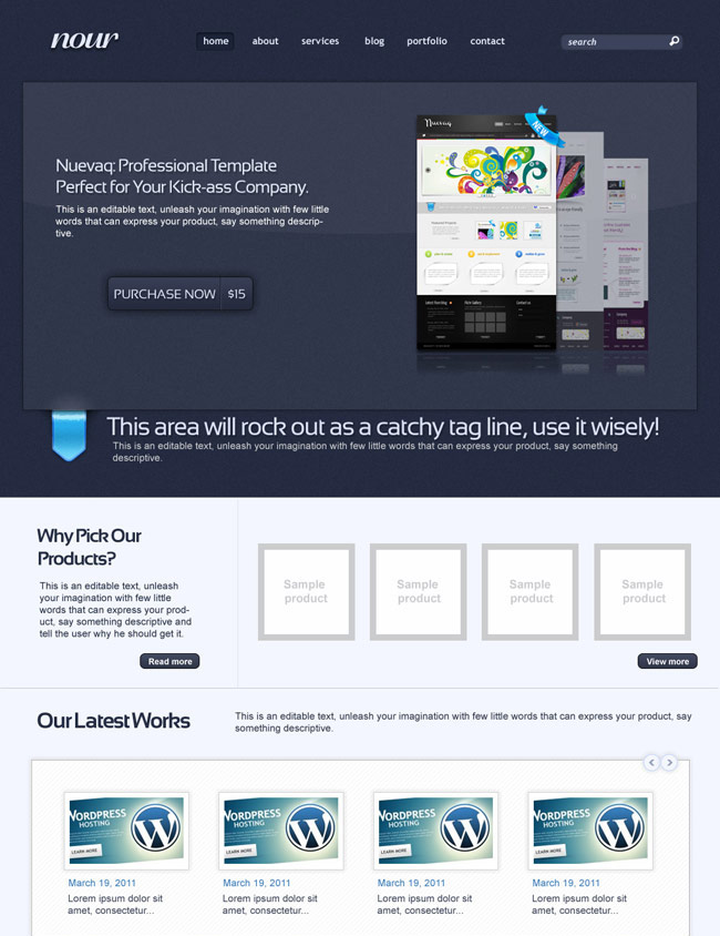Nour complete PSD website template