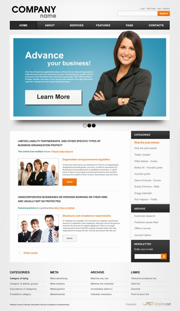 online business PSD web template