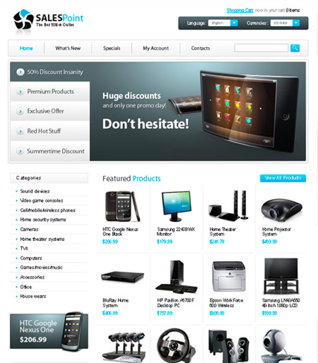 osCommerce Free PSD Web Template