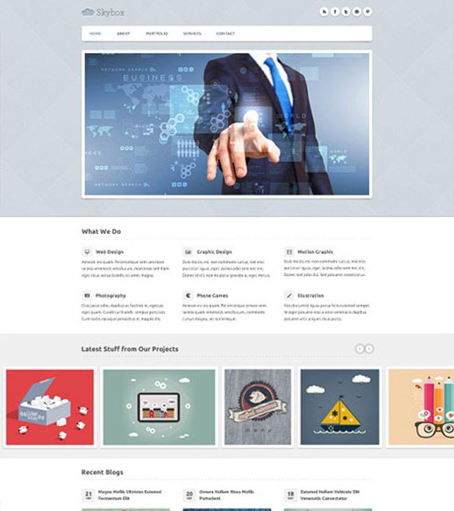 Skybox - free homepage psd