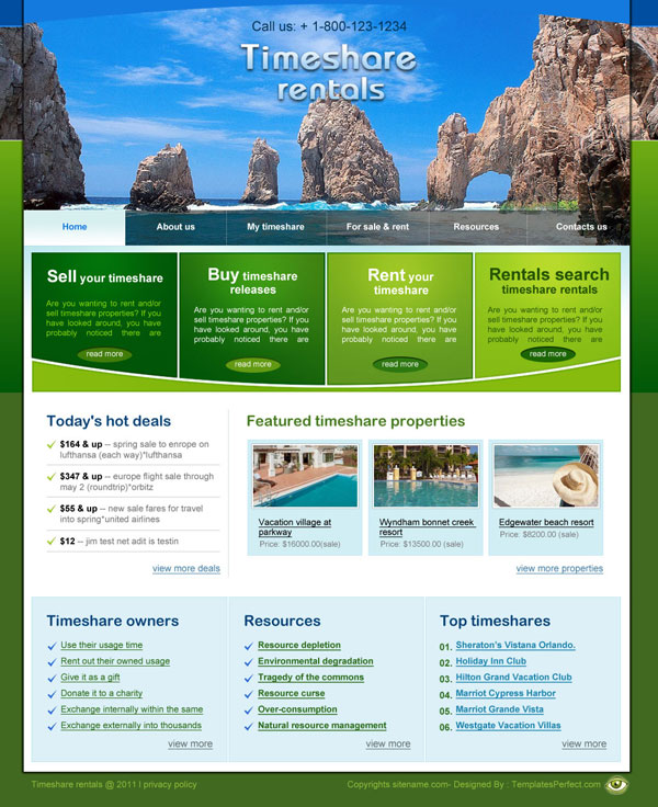 timeshare rentals web template
