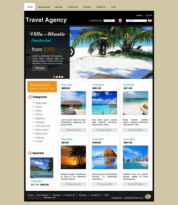 tour planner psd web template