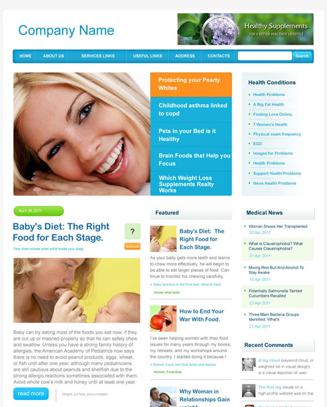 women health PSD web template