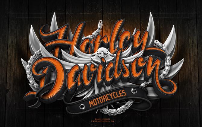 3d-typography-harley-davidson